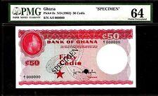 Ghana 50 Cedis 1965 SPECIMEN PMG 64 UNC Pick # 8s  S/N A/I 000000
