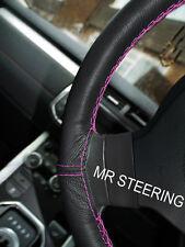 Fits vw touran 2 10-15 noir volant en cuir couverture rose chaud double stitch