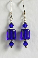 FAB Retro Style STERLING SILVER 925 EARRINGS Cobalt Blue CRYSTAL GLASS Hand Made