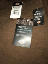 Dickies Mens Big Tall Relaxed Straight Fit Canvas Carpenter Jeans 42x32 Timber