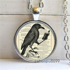Vintage Bird reading Cabochon Silver plated Glass Chain Pendant Necklace @53