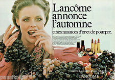 PUBLICITE ADVERTISING 115  1978  LANCOME  maquillage (2p) vernis rouge à lèvres