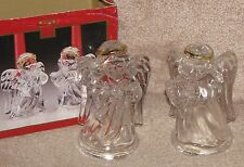 """Madison Avenue 5"""" Glass Angels with Instruments & Golden Halos Candle Holders..."""