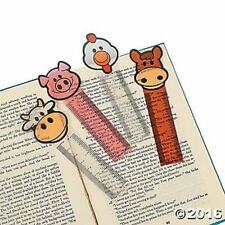 12 Farm Animal Pigs Cows Ruler Bookmarks Kids Birthday Party Favors Gifts Treats