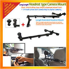 a long sturdy metal Headrest Mount for Digital Camera with a cam connecting part