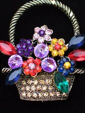 GOLD RHINESTONE SPRING MOTHER'S DAY EASTER BOUQUETS FLOWER BASKET PIN BROOCH 2""