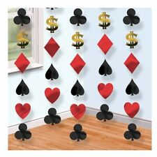 6 x 7FT CASINO LAS VEGAS HANGING PARTY FOIL STRING DECORATION - POKER CARD NIGHT
