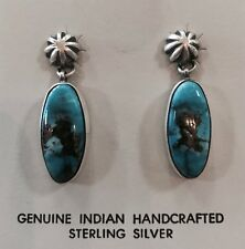 Native American Sterling Silver Navajo Kingman Turquoise Earring