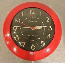 Vintage ARISTOCRAT electric WALL CLOCK Ingraham ART DECO Mid Century Red Kitchen