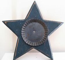 PATRIOTIC Primitive Rustic Blue Wooden Star Shaped Tabletop Candle Holder / Tray