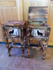 Set of 2 northwoods wolf table nightstand end table made in Maine solid wood