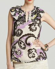 Nwt $228 Kate Spade New York MISSY Paisley Top Blouse Shirt Tank ~Purple *00