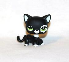 Littlest Pet Shop Black White Shorthair CAT #2249 Green Flower Eyes Blythe patch