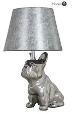 NEW SILVER FRENCH BULLDOG ORNAMENT TABLE LAMP, DOG BEDSIDE LAMP SILVER SHADE