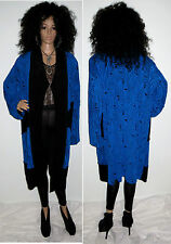 VTG 80'S ARTSY BLUE & BLACK RIPPED TORN LOOK SWING DUSTER COAT JACKET L/XL/PLUS