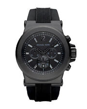 Michael Kors MK8152 Dylan All Black Silicone Stainless Steel 45MM NEW AUTHENTIC