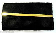 Topshop Real Leather & Pony Hair Black Long Bar Wallet
