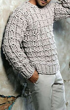 Men's Hand Knitted Crewneck Sweater XS,S,M,L,XL,XXL,XXXL Wool Hand Knit jacket
