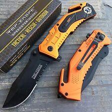 TAC-FORCE EMT Inscription Orange Coated Tactical Rescue Pocket Knife TF-688EMT