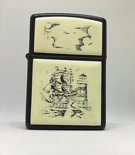 Zippo Petrol Lighter Scrimshaw Ship, lighthouse and clouds