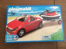 Playmobil 5133 Red Convertible & Driver w/ Jet Ski on Trailer New in Box!