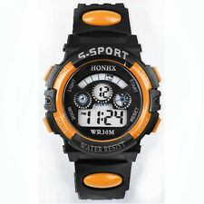 Waterproof Mens Boys Digital LED Quartz Alarm Date Wrist Watch Orange Watches
