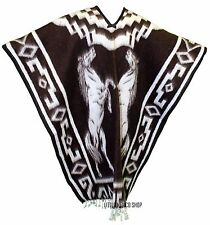 HEAVY BLANKET Mexican PONCHO - COWBOY 23 DARK BROWN ONE SIZE FITS ALL Gaban