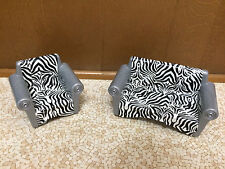 Barbie Doll Size Zebra Plastic Couch Sofa Chair Living Room House Furniture Set