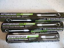 "Set of 3 PITTSBURGH 1/4"", 3/8"" & 1/2"" set DRIVE CLICK STOP TORQUE WRENCHES"