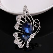 Silver Plated Clear with Blue Rhinestone Butterfly Brooch Pin