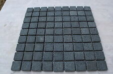 Sample Black Tumbled Basalt 3cm by 3cm Mosaic wall tiles wetroom kitchen