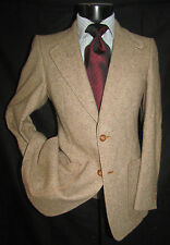 Superb Vintage Tweed Beige 2 Button Center Vent Flat Front Men Suit 36 R