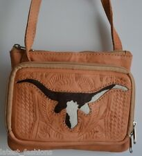 TAN BROWN TOOLED COWGIRL COW HIDE LEATHER CROSS BODY SATCHEL MESSENGER PURSE BAG