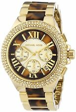 NWT Michael Kors Camille Tortoise Gold-Tone Chronograph Ladies Watch MK5901 $295
