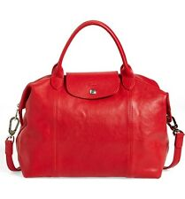 NEW $565  LONGCHAMP LE PLIAGE CUIR LEATHER HANDBAG CHERRY