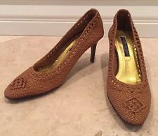 RALPH LAUREN Collection Purple Label Woven Leather Light Brown Tan Heels 7.5 B