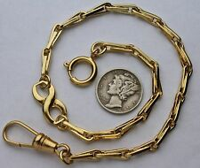 American Civil War Style Pocket Watch Chain 14k Gold Plated Infinity Loop Link