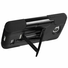 FOR LG TRIBUTE LS660 / F60 PHONE BLACK ACCESSORY hybrid STAND SKIN CASE COVER