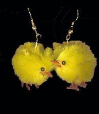 Funky Chenille FUZZY CHICK EARRINGS Chicken Farm Easter Bird Hen Costume Jewelry