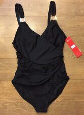 Spanx 2095 Draped One Piece Slimming Swimsuit - Black Sz 14 New with Tags -  A6