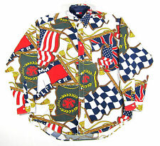 90S VTG TOMMY HILFIGER ALL OVER PRINT BIG LOGO SHIRT LOTUS USA FLAG POLO SPORT