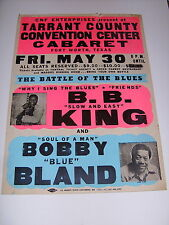 """B.B. KING BOBBY BLAND """"BATTLE OF THE BLUES"""" GLOBE POSTER FORT WORTH TEXAS"""