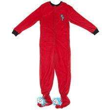 Dr Seuss Thing One & Two Footed Pajamas Adult Baby Size Juniors Large 11/13 NEW