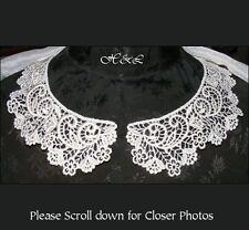 Pair Ivory Luxury Venise Guipure Lace Peter Pan Bridal Dress APPLIQUE collars