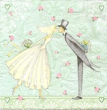 4 carta singola tavola TOVAGLIOLI PER DECOUPAGE momenti Topper sposa e sposo nozze