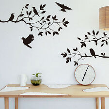 Black Bird and Tree Branch Wall Sticker Removable Decor Decal Quote Home Mural