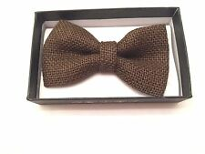 Brown New Men Women Burlap Woven Pre Tied Neck Bow Tie