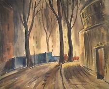 Original Watercolor Town Scene w/Trees John Stanley Walsh (Canada/UK 1907-1994)