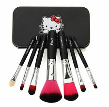 2016 Newest Black Hello Kitty 7Pcs Makeup Brush Set Mini Size Professional