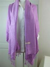 "Pashmina w Silk Shoulder Shawl Scarf Wrap Light Mauve w 3.5"" Fringe 28"" x 80"""